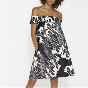 NEW Halston Heritage Off-shoulder Printed Dress